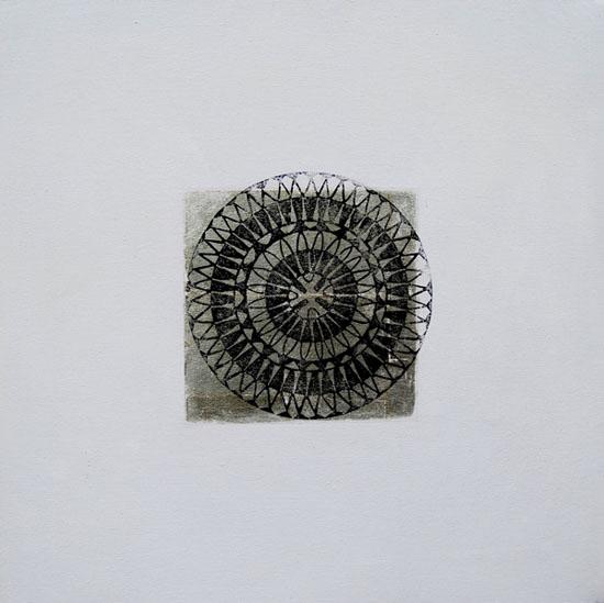Huile sur toile, estampe et feuille d'or sur toile, 40x40 cm, 2000